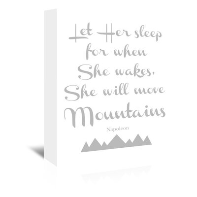Americanflat 'Let Her Sleep Mountains Grey' by Amy Brinkman Typography Wrapped on Canvas