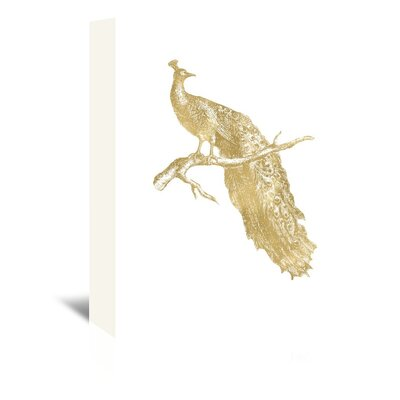 Americanflat 'Peacock Single Gold on White' by Amy Brinkman Graphic Art Wrapped on Canvas