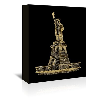 Americanflat 'Statue of Liberty Gold on Black' by Amy Brinkman Graphic Art Wrapped on Canvas