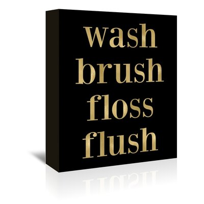 Americanflat 'Wash Brush Floss Gold on Black' by Amy Brinkman Typography Wrapped on Canvas