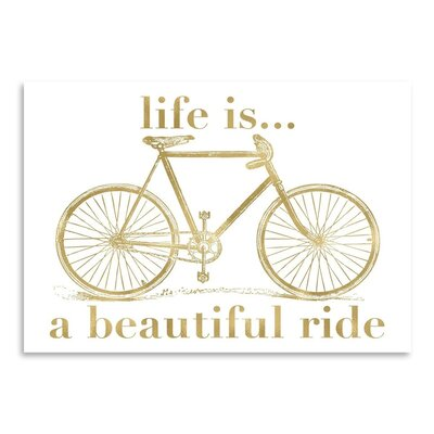 Americanflat 'Bicycle Life is Beautiful Ride Gold on White' by Amy Brinkman Graphic Art
