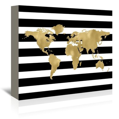 Americanflat 'World Map Stripe' by Amy Brinkman Graphic Art Wrapped on Canvas
