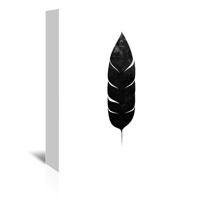 Americanflat 'Black White Faded Feather' by Jetty Printables Graphic Art Wrapped on Canvas