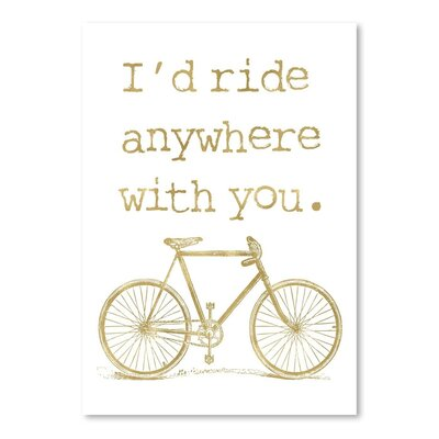 Americanflat 'Bicycle I'd Ride Anywhere Gold on White' by Amy Brinkman Graphic Art