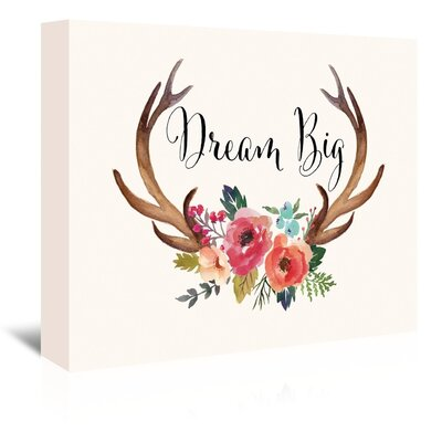 Americanflat 'Dream Big Antlers Cream' by Amy Brinkman Graphic Art Wrapped on Canvas