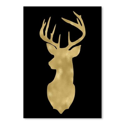 Americanflat 'Deer Head Left Face Gold on Black' by Amy Brinkman Graphic Art
