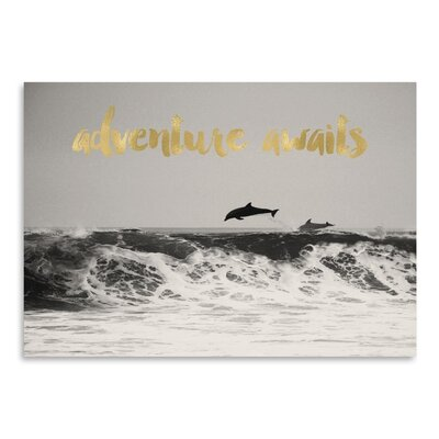 Americanflat 'Dolphins Adventure Awaits Gold On BW' by Amy Brinkman Graphic Art