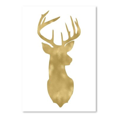 Americanflat 'Deer Head Left Face Gold on White' by Amy Brinkman Graphic Art