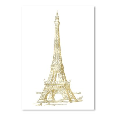 Americanflat 'Eiffel Tower Gold on White' by Amy Brinkman Graphic Art