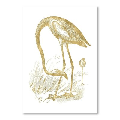 Americanflat 'Flamingo 1 Gold on White' by Amy Brinkman Graphic Art