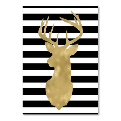 Americanflat 'Deer Head Left Face Black White Stripe' by Amy Brinkman Graphic Art