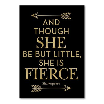 Americanflat 'Fierce Shakespeare Arrows Gold on Black' by Amy Brinkman Typography