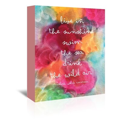 Americanflat 'Live in The Sunshine Watercolour' by Amy Brinkman Typography Wrapped on Canvas