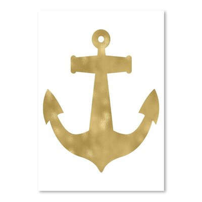 Americanflat 'Anchor Gold on White' by Amy Brinkman Graphic Art