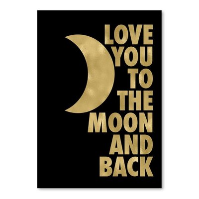 Americanflat 'Love You Moon Back Gold on Black' by Amy Brinkman Graphic Art