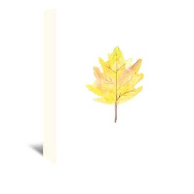 Americanflat 'Watercolour Leaf' by Jetty Printables Graphic Art Wrapped on Canvas in Yellow