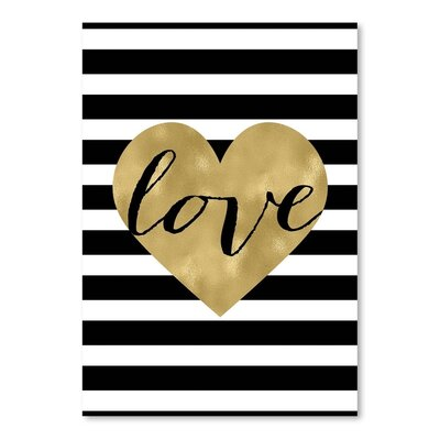 Americanflat 'Love Heart Black White Stripe' by Amy Brinkman Graphic Art