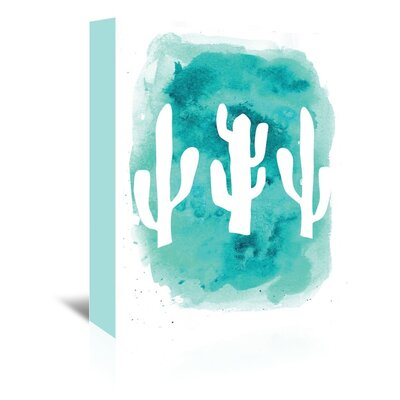 Americanflat 'Watercolour Cactus' by Jetty Printables Graphic Art Wrapped on Canvas in Blue