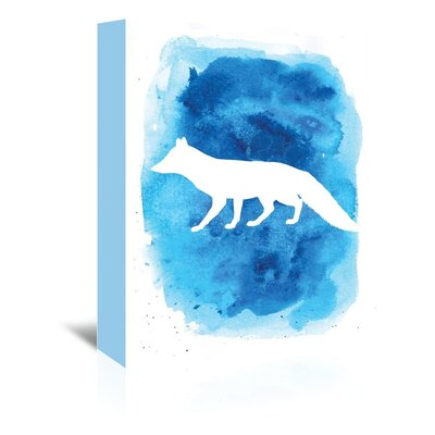Americanflat 'Watercolourlue Background Fox' by Jetty Printables Graphic Art Wrapped on Canvas