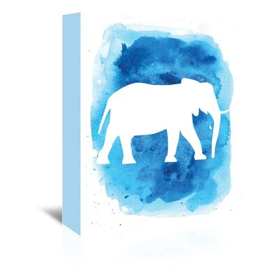 Americanflat 'Watercolourlue Background Elephant' by Jetty Printables Graphic Art Wrapped on Canvas