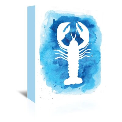 Americanflat 'Watercolourlue Background Lobster' by Jetty Printables Graphic Art Wrapped on Canvas