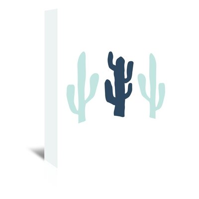Americanflat 'Cactus' by Jetty Printables Graphic Art Wrapped on Canvas in Blue