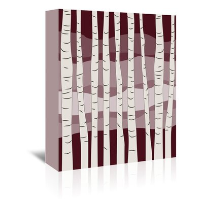 Americanflat 'Burgundy Birch Trees' by Jetty Printables Graphic Art Wrapped on Canvas