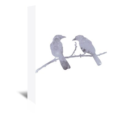 Americanflat 'Watercolour Birds' by Jetty Printables Graphic Art Wrapped on Canvas in Grey