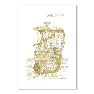 Americanflat 'Ship 1 Gold on White' by Amy Brinkman Graphic Art