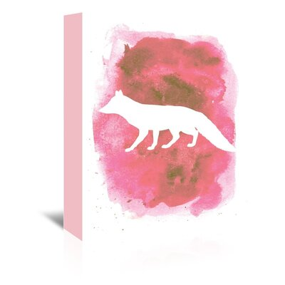 Americanflat 'Watercolour Fox' by Jetty Printables Graphic Art Wrapped on Canvas in Pink