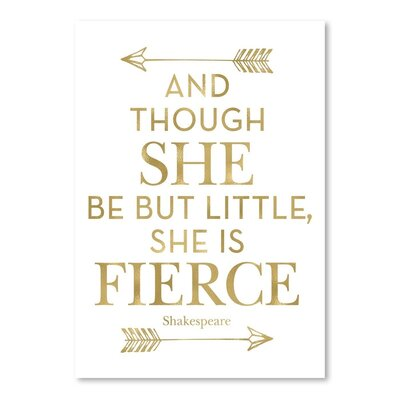 Americanflat 'Fierce Shakespeare Arrows Gold on White' by Amy Brinkman Typography
