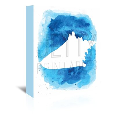 Americanflat 'Watermark Watercolourlue Background Conch' by Jetty Printables Graphic Art Wrapped on Canvas
