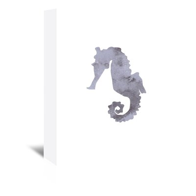 Americanflat 'Watercolour Seahorse' by Jetty Printables Graphic Art Wrapped on Canvas in Grey