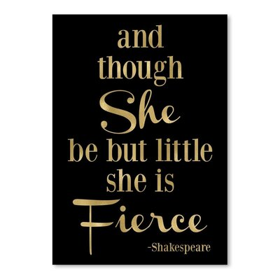 Americanflat 'Fierce Shakespeare Gold on Black' by Amy Brinkman Typography