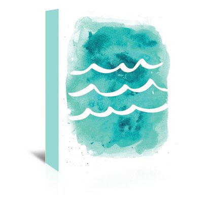 Americanflat 'Watercolour Aqua Waves' by Jetty Printables Graphic Art Wrapped on Canvas