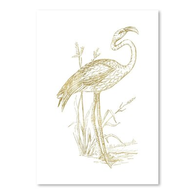 Americanflat 'Flamingo 2 Gold on White' by Amy Brinkman Graphic Art