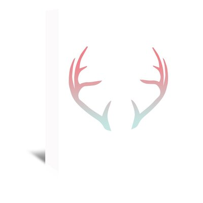 Americanflat 'Coral Mint Faded Antlers' by Jetty Printables Graphic Art Wrapped on Canvas