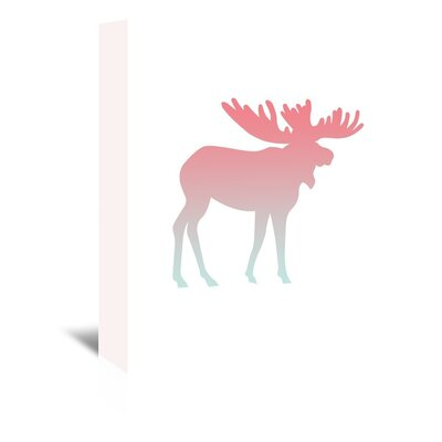 Americanflat 'Coral Mint Faded Moose' by Jetty Printables Graphic Art Wrapped on Canvas