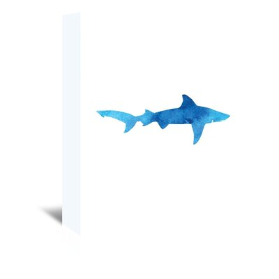 Americanflat 'Watercolour Shark' by Jetty Printables Graphic Art Wrapped on Canvas in Blue
