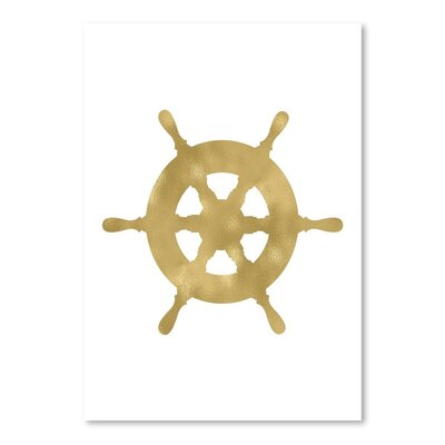 Americanflat 'Ship Wheel Gold on Black' by Amy Brinkman Graphic Art