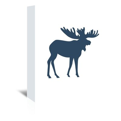 Americanflat 'Moose' by Jetty Printables Graphic Art Wrapped on Canvas in Blue
