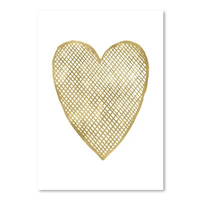 Americanflat 'Heart Crosshatched Gold on White' by Amy Brinkman Graphic Art