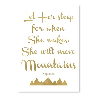 Americanflat 'Let Her Sleep Mountains' by Amy Brinkman Typography in Gold