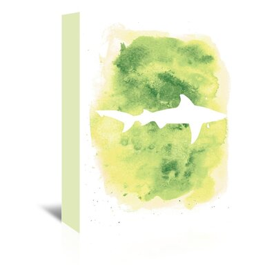 Americanflat 'Watercolour Shark' by Jetty Printables Graphic Art Wrapped on Canvas in Green