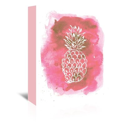 Americanflat 'Watercolour Back Ground Pine Apple' by Jetty Printables Graphic Art Wrapped on Canvas in Pink