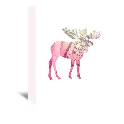 Americanflat 'Psychedelic Pink Moose' by Jetty Printables Graphic Art Wrapped on Canvas
