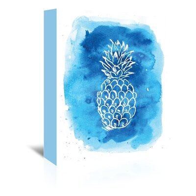 Americanflat 'Watercolourlue Background Pineapple' by Jetty Printables Graphic Art Wrapped on Canvas