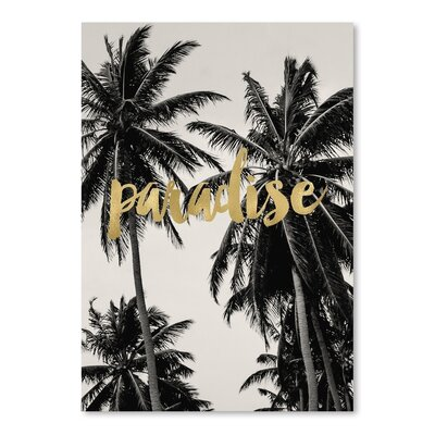 Americanflat 'Paradise Palm Trees Gold On Black White' by Amy Brinkman Graphic Art