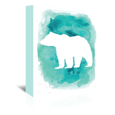 Americanflat 'Watercolour Bear' by Jetty Printables Graphic Art Wrapped on Canvas in Blue