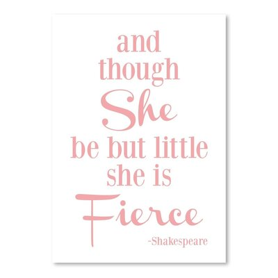 Americanflat 'She is Fierce V2 Pink' by Amy Brinkman Typography